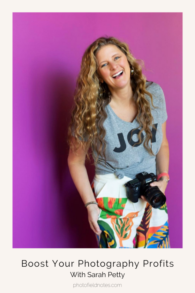 """Photo of Sarah Peck on a purple background with a shirt that says, """"Joy."""" The text reads: Boost Your Photography Profits with Sarah Peck"""